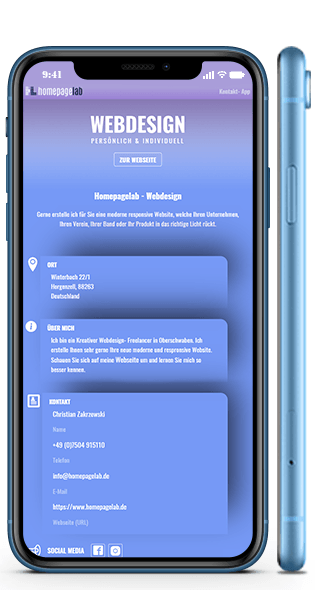 Webdesign im Iphone XR